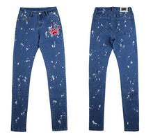 Load image into Gallery viewer, Vintage Flower Embroidery Denim Jeans Pencil Stretch Pants Skinny Trousers High waist