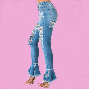 Ripped Skinny Bell Bottom Flare Denim Jeans Casual Elegant Hole Party Pants Spring Summer Winter