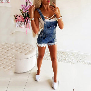 Denim Overall Shorts Jeans Pockets Washed Straps Summer Spring Casual Streetwear