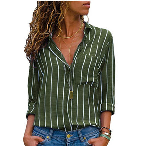 Women Casual Striped V Neck Top Shirts Loose 2020 Shirts Autumn Fall Office Sexy Plus Size