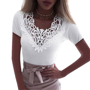 Slim Lace V Neck T-shirt Sexy Elegant Summer Short Sleeve Flower Plus Size Tops