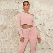 Load image into Gallery viewer, Two Piece Casual Long Sleeve Crop Top  Solid Elastic Waist Pants Women Tracksuit Autumn Fall Spring