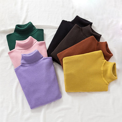 Women's Turtleneck Pullover 18 colours Sweaters Spring Long Sleeve Jumper Autumn Basic Top Knitted