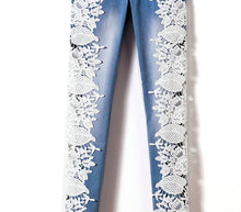 Load image into Gallery viewer, Hollowed Out Side Lace Skinny Denim Jeans Pencil Pants Patchwork