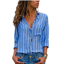 Load image into Gallery viewer, Women Casual Striped V Neck Top Shirts Loose 2020 Shirts Autumn Fall Office Sexy Plus Size