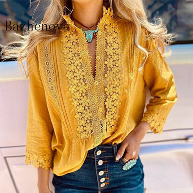 Solid Color Long Sleeve Floral Lace Blouse 2020 Autumn Woman Top Fall Shirt Hollow Out Casual Office