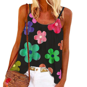 Floral Printed Casual Tank Tops Summer Sleeveless Loose Cute Vest Shirt Large Size Summer Tops