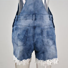 Load image into Gallery viewer, Denim Overall Shorts Jeans Pockets Washed Straps Summer Spring Casual Streetwear