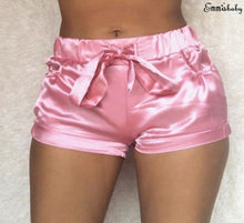 Load image into Gallery viewer, Soft Pink Silk Satin Shorts Sexy High Waist Bodycon Flannel Short Pants Fitness Sleep Wear Beach