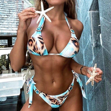 Sexy Low Waist 2 Piece Crystal Bikini Hollow Out Print 2020 Summer Women Swimsuit Beachwear