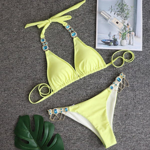 Sexy Rhinestone High Waist  Bikini Swimsuit Hollow Out Dot Camisole Spring Summer Beach