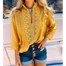 Load image into Gallery viewer, Solid Color Long Sleeve Floral Lace Blouse 2020 Autumn Woman Top Fall Shirt Hollow Out Casual Office