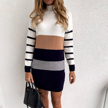 Load image into Gallery viewer, Turtleneck Splice Stripe Sweater Dress Knitted Long Sleeve Bodycon 2020 Fall Winter Casual