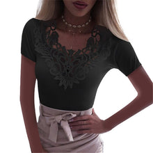Load image into Gallery viewer, Slim Lace V Neck T-shirt Sexy Elegant Summer Short Sleeve Flower Plus Size Tops
