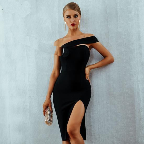 Adyce White Bodycon Bandage Dress Vestidos 2020 Summer Sexy Elegant Black One Shoulder Midi Party