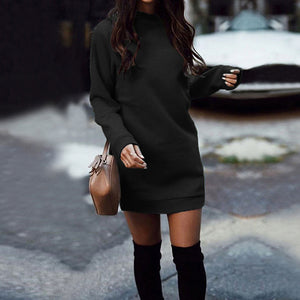 Thick Warm O-Neck Mini Dress Long Sleeve 2020 Fall Winter Charm Casual Knitted