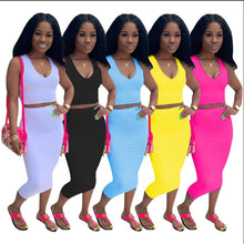 Load image into Gallery viewer, 2pc set summer solid tank top bodycon midi skirts suit club party women's tracksuit outfit dress