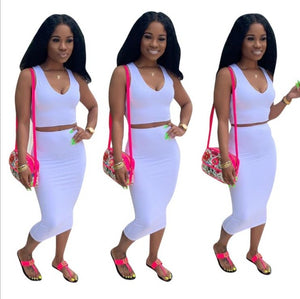 2pc set summer solid tank top bodycon midi skirts suit club party women's tracksuit outfit dress