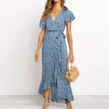 Load image into Gallery viewer, Boho Floral Print Beach Dress Women Summer Long Chiffon Dresses Sexy High Slit V-Neck Wrap