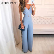 Load image into Gallery viewer, Crisscross Spaghetti Strap Button Slit Side Jumpsuit