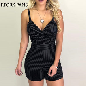 Pinstripes Sleeveless Wrapped Casual Romper Jumpsuits Casual Look
