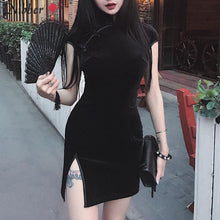 Load image into Gallery viewer, Nibber Retro Chinese style cheongsam bodycon mini dress club party elegant black pink short