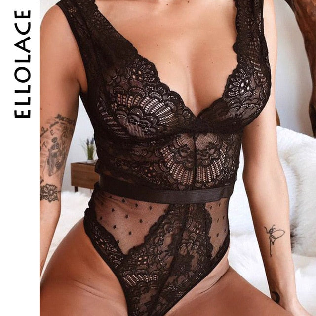 Ellolace Summer Lace Bodysuit Floral Embroidery Deep V Neck Sexy Patchwork