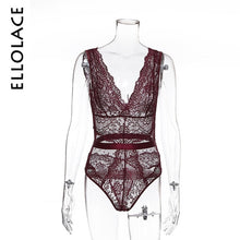 Load image into Gallery viewer, Ellolace Summer Lace Bodysuit Floral Embroidery Deep V Neck Sexy Patchwork