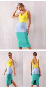 Adyce Summer Bodycon Bandage Dress Sexy V Neck Sleeveless Tank Club Evening Party