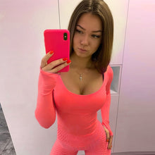 Load image into Gallery viewer, Orange Neon Bodysuit Long Sleeve Bodycon Sexy Streetwear Club Party Casual