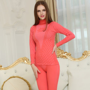 Fashion Printed Striped Women's Thermal Underwear Set Winter Turtleneck Cotton thermo Clothing
