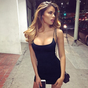 Sexy Club Mini-Dresses Summer Solid Color Backless Nightclub Dress Bodycon Sundress Elegant Party
