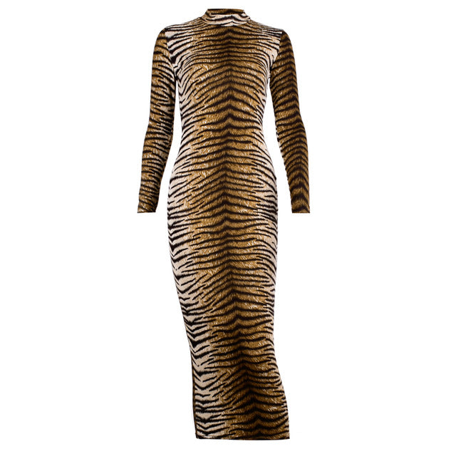 Chicology tiger print long sleeve sexy bodycon midi dress office elegant party club