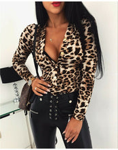 Load image into Gallery viewer, Sexy Long Sleeve Mesh Sheer Bodysuit V Neck Tops Jumpsuit Bodycon Romper