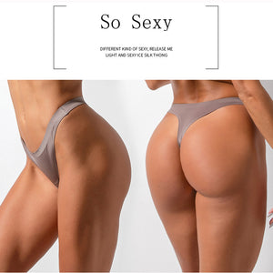 Sexy Low-Rise Ice Silk Seamless G String Underwear Women Thongs Lingerie