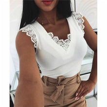 Load image into Gallery viewer, Lace Tank Tops Vintage Hollow Out Camisole White Summer Sexy V-Neck Vest Elegant Party