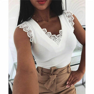 Lace Tank Tops Vintage Hollow Out Camisole White Summer Sexy V-Neck Vest Elegant Party