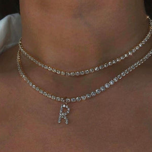 Stonefans Bling Rhinestone Letter Necklace Silver Chain Pendant Necklace Choker