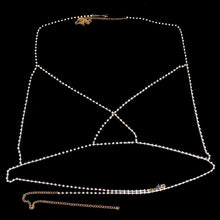 Load image into Gallery viewer, Cross Rhinestone Bralette Body Chain Sexy Jewellry Bling Crystal Jewellry Party Gift