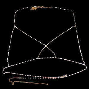 Cross Rhinestone Bralette Body Chain Sexy Jewellry Bling Crystal Jewellry Party Gift