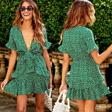 Load image into Gallery viewer, Summer Sexy Frill Trim Floral Printed Mini-Dress Sleeveless Elastic Korean Fashion high waist beach