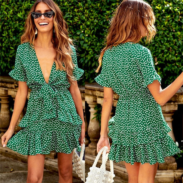 Summer Sexy Frill Trim Floral Printed Mini-Dress Sleeveless Elastic Korean Fashion high waist beach