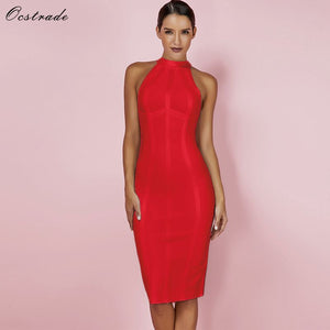 Ocstrade Red Bandage Dress Bodycon Striped High Quality Midi Bandage Dress Party