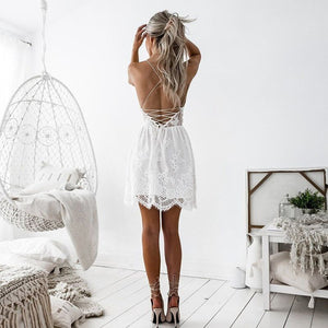 LOSSKY Summer Party Dress Sexy White Pink Deep V Neck Backless Lace Short Dress