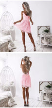 Load image into Gallery viewer, LOSSKY Summer Party Dress Sexy White Pink Deep V Neck Backless Lace Short Dress