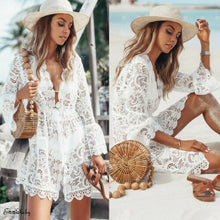 Load image into Gallery viewer, Summer Floral Lace Hollow Crochet Swimsuit Bikini Cover-Up Beachwear Tunic Beach Dress Hot