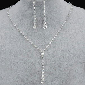 Fashion Drop Crystal Jewelry Set Silver Rhinestone Necklace and Earrings Set Bridal Wedding