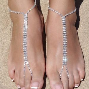2pcs Trendy Ankle chain Rhinestone Barefoot Beach Jewellry Crystal Toe Anklet Boho Wedding Jewellry