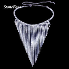 Load image into Gallery viewer, Long Chain Rhinestone Tassel Choker Necklace Bride Statement Wedding Crystal Collar