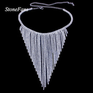 Long Chain Rhinestone Tassel Choker Necklace Bride Statement Wedding Crystal Collar